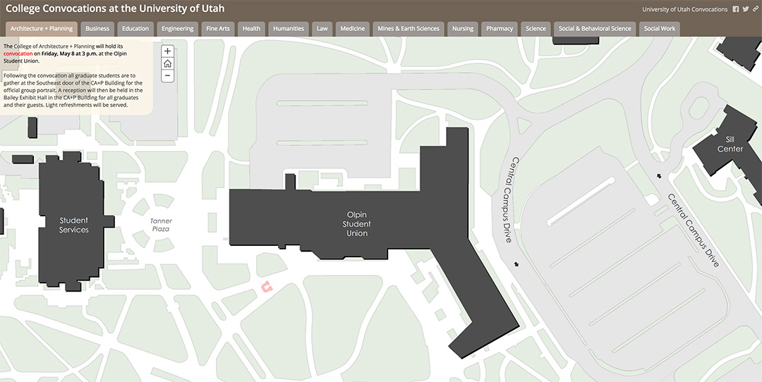 University of Utah Convocations interactive map
