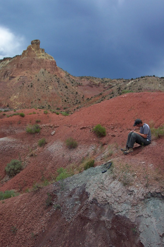 Author Randall Irmis writing notes while taking rock samples for extraction of fossil pollen and spores at Ghost Ranch, New Mexico. Microscopic fossil plant remains helped reconstruct the flora of the ancient ecosystem and how it responded to a changing climate. Credit: Nathan Smith