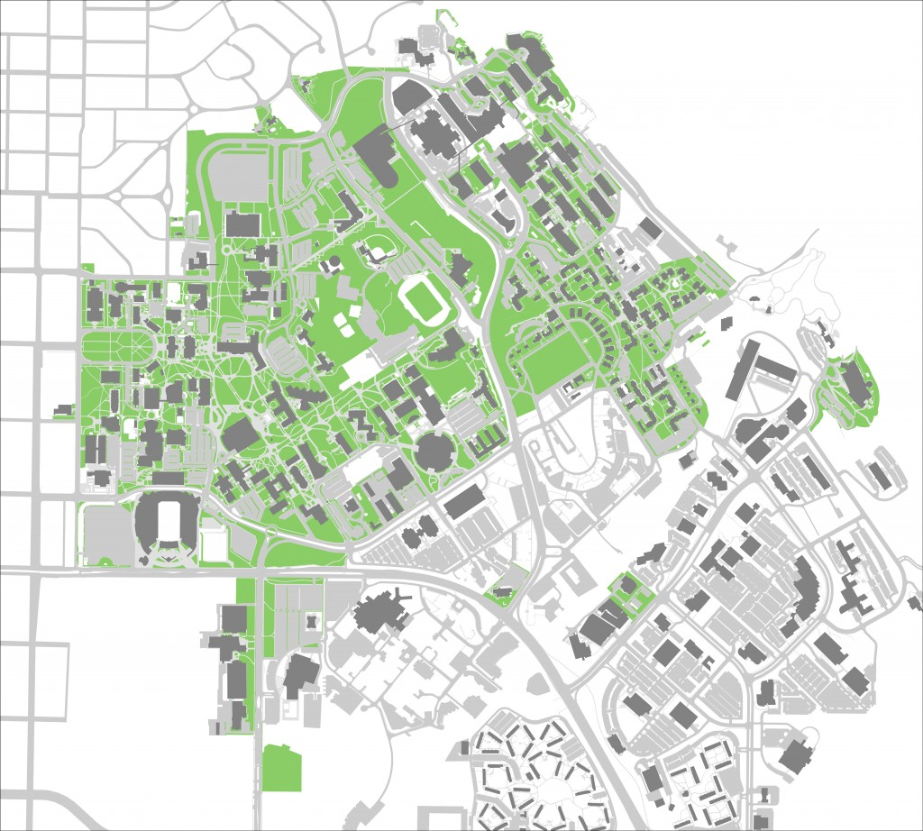 Not all areas that appear to be on the University of Utah campus are managed by the U's landscape department. The areas in green are managed by the University of Utah. Click to enlarge image.