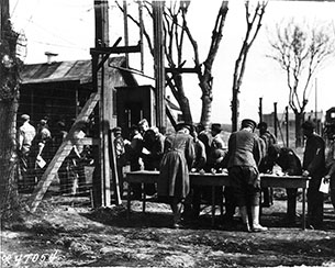 Prisoners of war being signed in at Camp Douglas. Credit: Fort Douglas Museum Archives