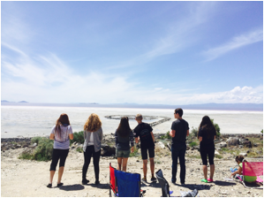 AP Art History students from Bingham High School at Rozel Point, Great Salt Lake, Utah. Robert Smithson (American, 1938–1973), Spiral Jetty, 1970, black basalt rock, salt crystals, earth, water.