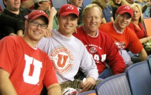 Alan Wood (third from the left) with his sons (from left to right) Rob, Jeff and Eric, at the 2009 Sugar Bowl, where Utah beat Alabama. All four are proud U alumni.