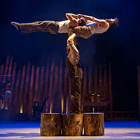 London, UK. 11.07.2013. Southbank Centre presents TIMBER! by Cirque Alfonse. Three generations of Quebecois circus family premiere their UK debut show. Picture shows: Jonathan Casaubon, Matias Salmenaho and Antoine Carabinier-Lepine. Photograph © Jane Hobson.