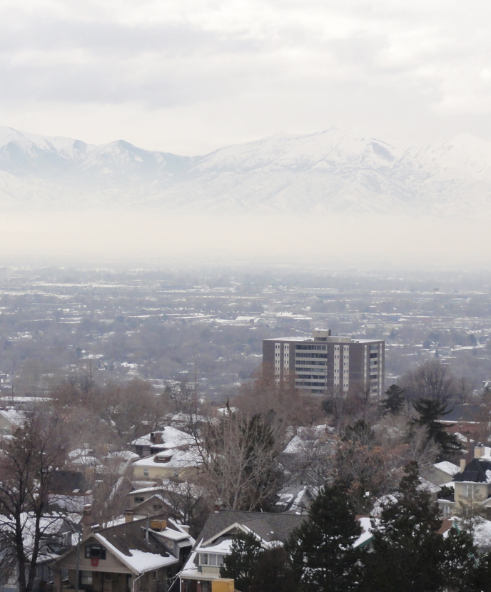 Air pollution is trapped in the Salt Lake Valley by the inversion in January 2016.