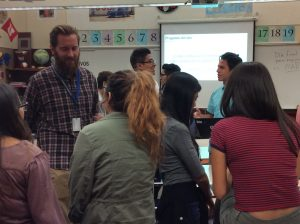 Chantal Esquivias, associate instructor for Second Language Teaching and Research Center and Ryan Wells teach Spanish for dual immersion students at Taylorsville High School.