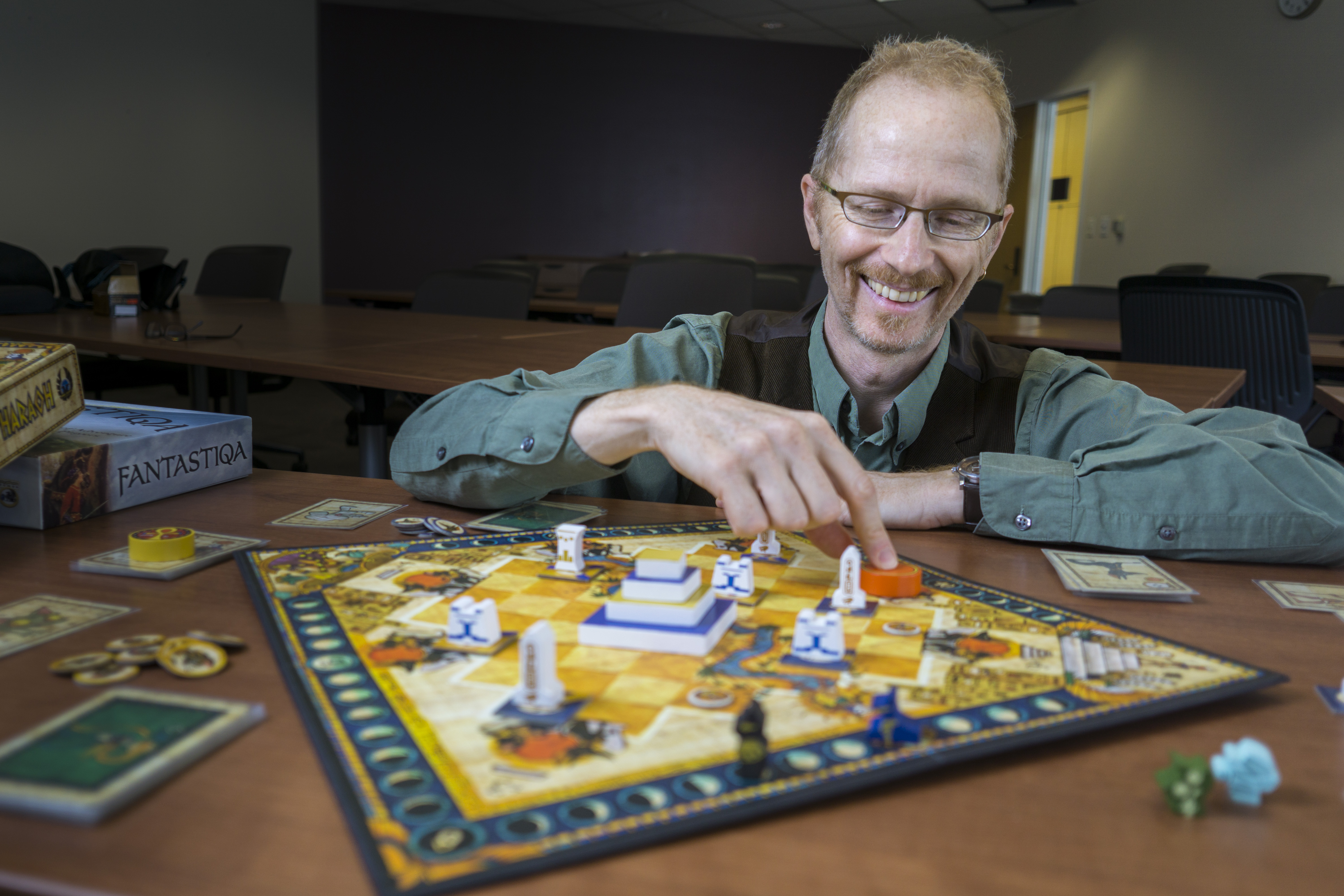Alf Seegert, assistant professor of English writes and designs storytelling board games
