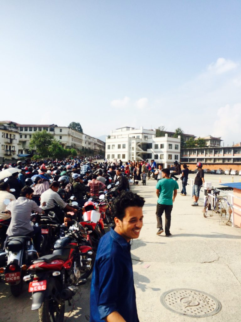 Petrol lines (for gasoline) during the fuel crisis. No gasoline was making it across the Indian border due to the trade blockade. Many waited in line for days on end just to get a few liters of gas, rationed out by the Nepal government.