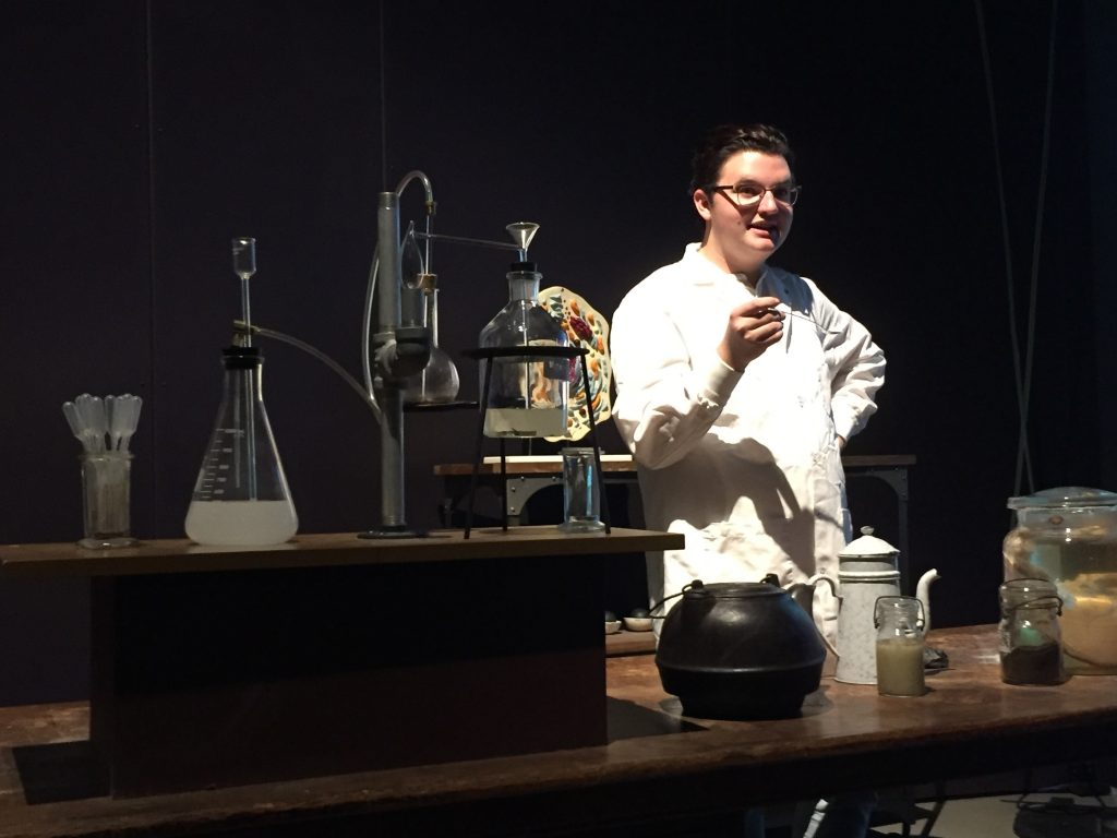 Jacob Weitlauf, a theater student at the University of Utah, leads a one-person play on the origins of toxicology.
