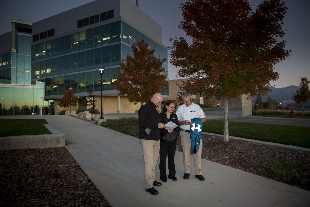 University of Utah staff volunteers fan out around campus to assess lighting levels and other safety conditions on campus as part of an annual Walk After Dark event on November 2, 2016.