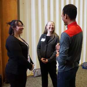 Jewel Poss (left), administrative assistant for the vice president for Equity, Diversity and Inclusion, Lori McDonald (center), vice president for student affairs and Bryan Hubain (right), associate vice president for student development and inclusion in the office of the vice president for student affairs.