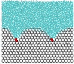 A simulation of an ice inhibiting molecule. The molecule, in red, is like a weight on the surface of the ice crystal, curving it and preventing further ice crystal growth.