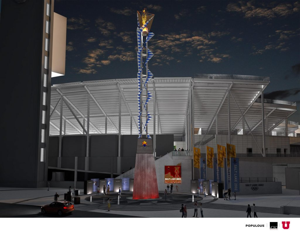 Artist rendering of future Olympic plaza at the Rice-Eccles Stadium at night.