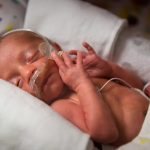 A baby born premature with a nasal cannula, in a bassinet
