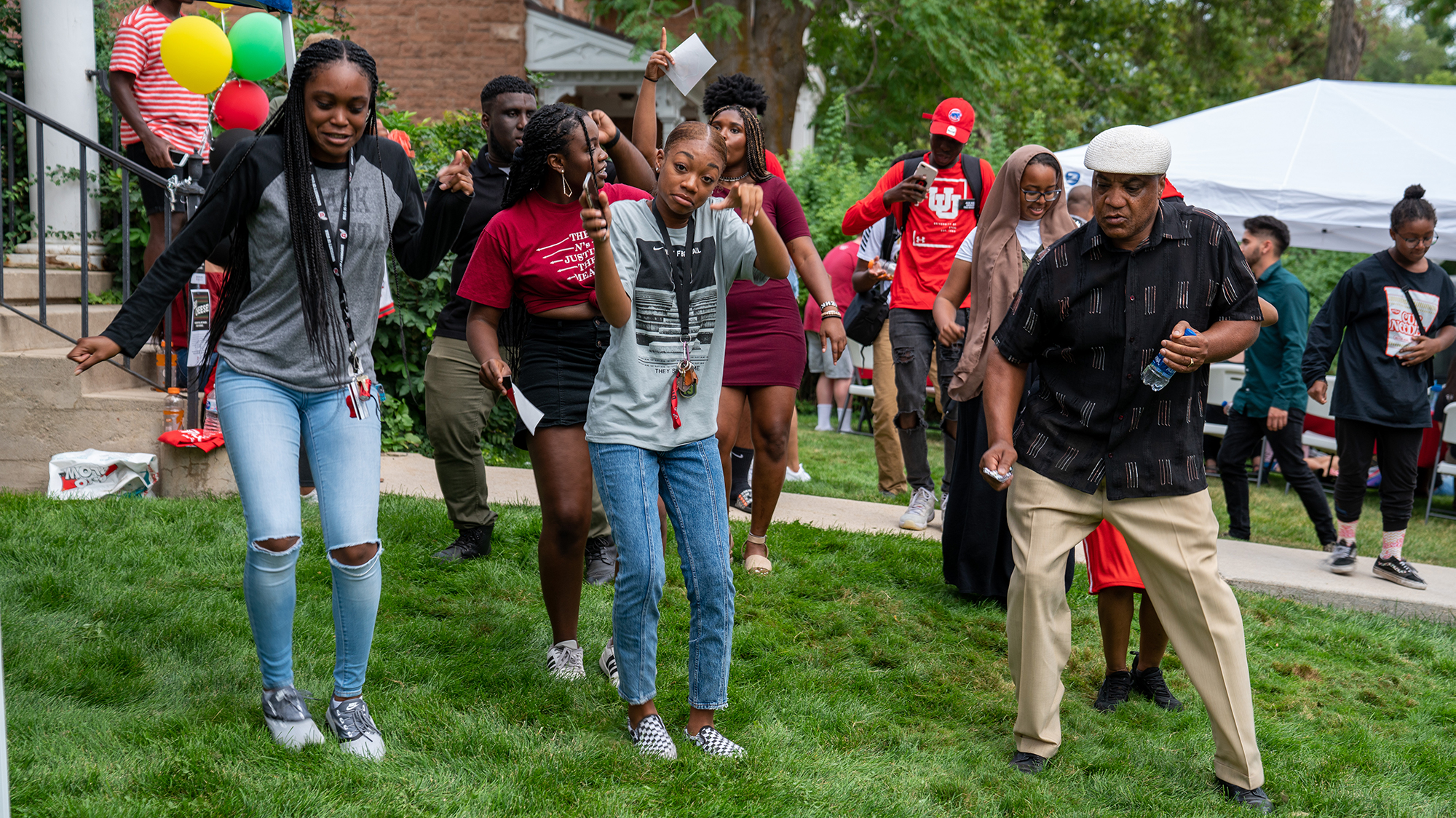 Students, staff and faculty dance at the Black Cultural Center grand opening
