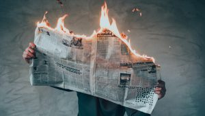newspaper burning