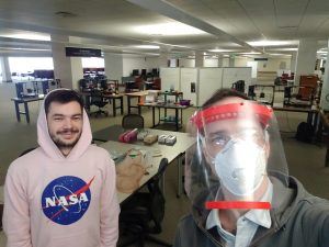 Two men who helped make 3d printed face shields