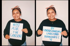 "Woman holding sign that reads ""# U ask for consent by understanding each others boundaries."""