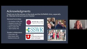A screenshot of Sarah Reese and her presentation slide showing list of acknowledgements