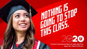 """image of female graduate. Text reads """"Nothing is going to stop this class."""""""