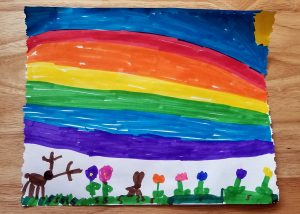 drawing of a rainbow over some flowers
