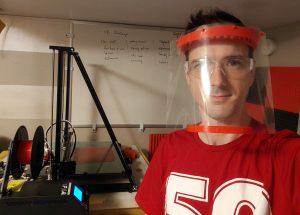 Man wearing a medical-grade face shield