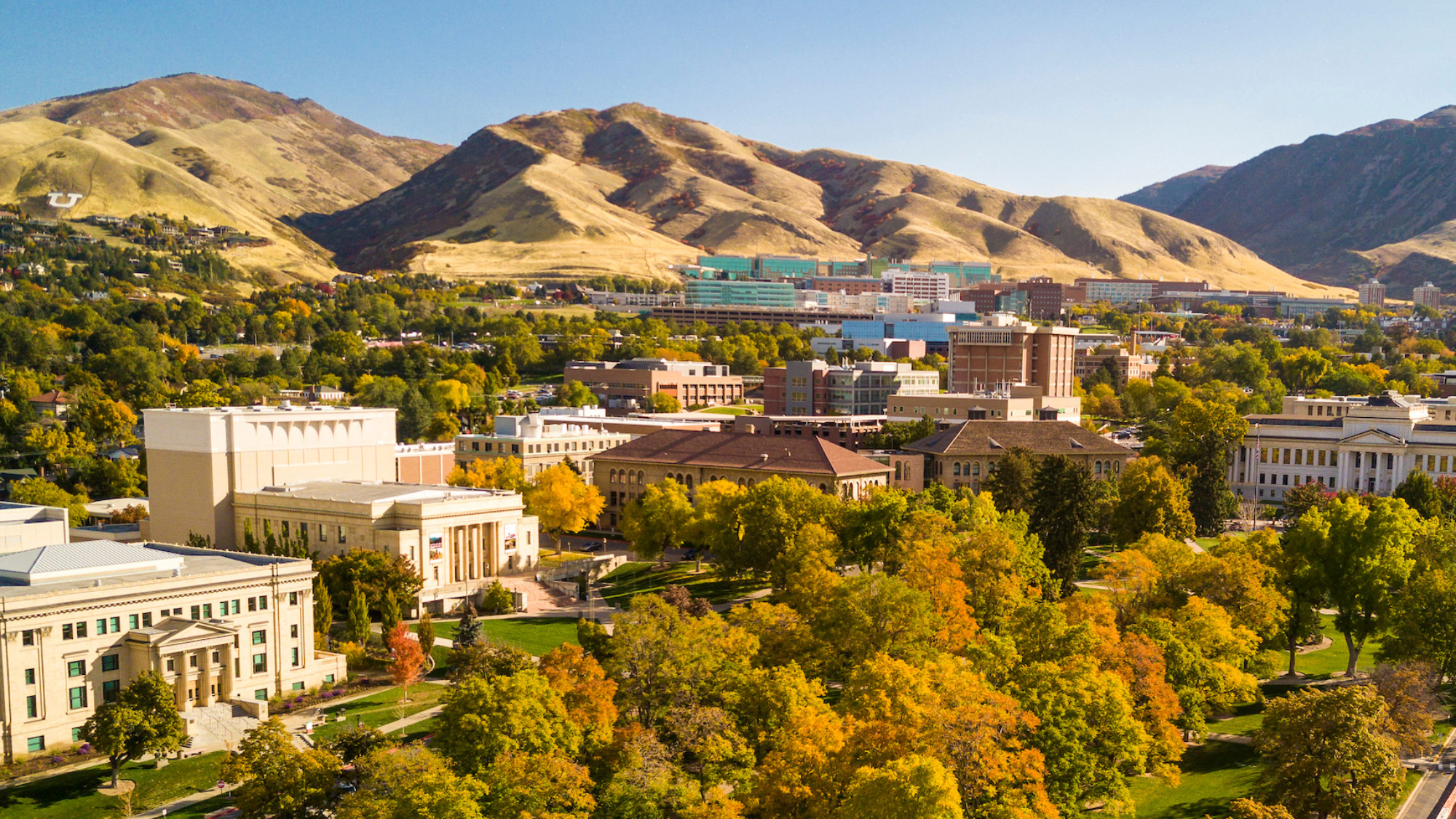Aerial view of Presidents Circle at the University of Utah in the fall.