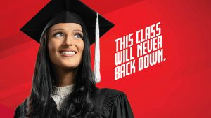 "female graduate. text reads, ""This class will never back down"""