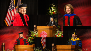 photos of five speakers from 2020 commencement