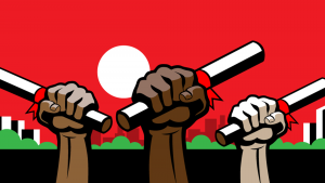 graphic of three fists holding diplomas up in a fist representing varying skin tones from dark to light.