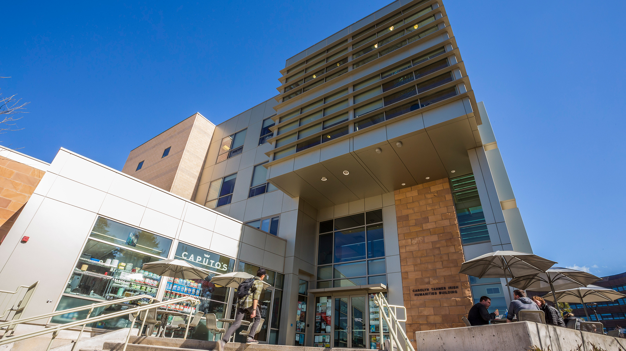 photo of the main entrance to the Tanner Humanities Building