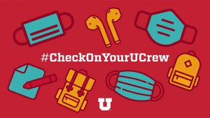 "graphic features face mask, airpods, paper and pencil, backpack and reads, ""#CheckOnYourUCrew"