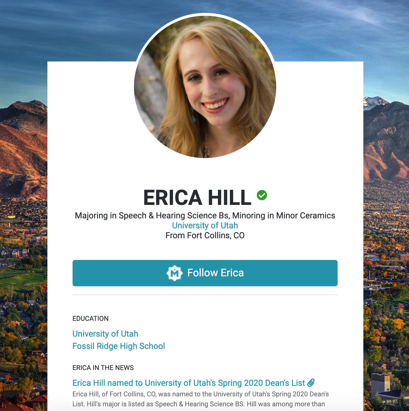 screenshot of Erica Hill's Merit Page
