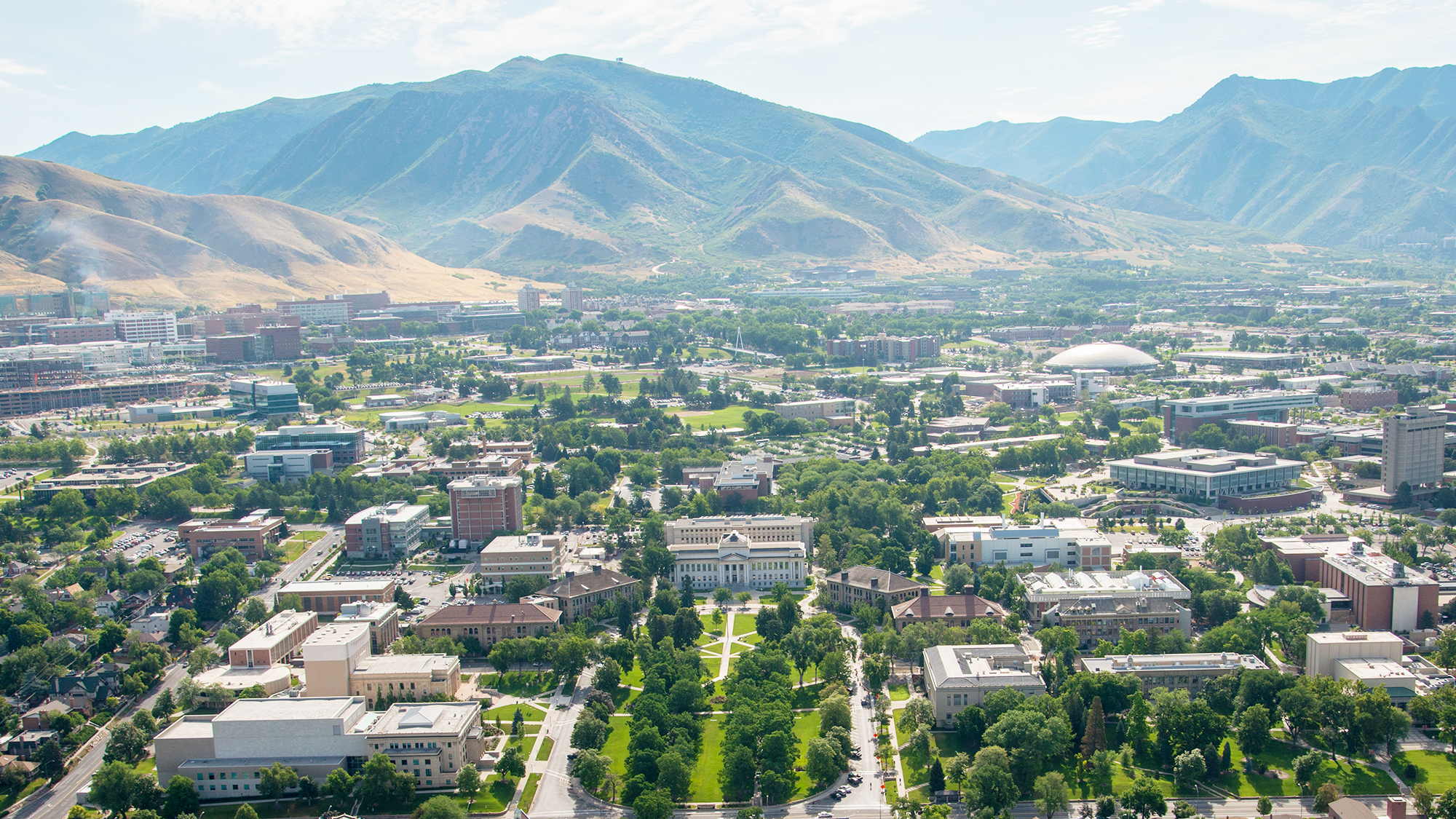 aerial view of the University of Utah campus
