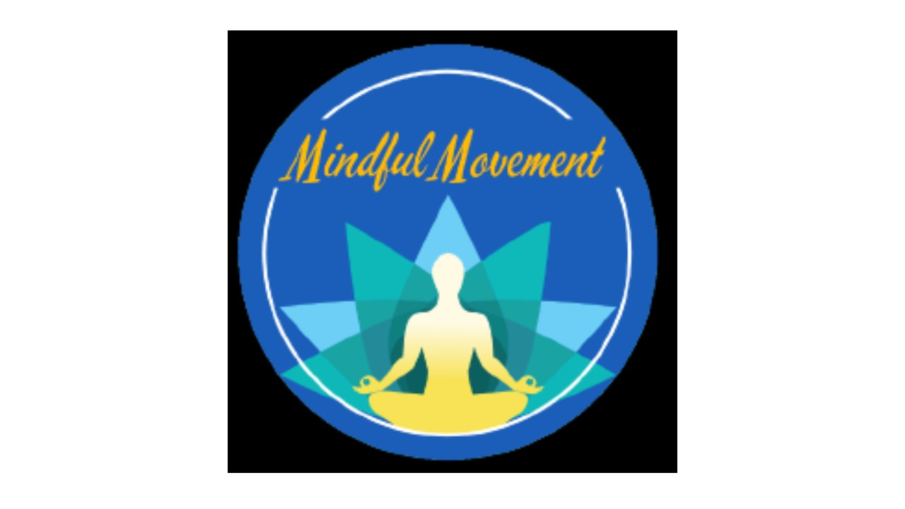 """graphic includes blue circle with figure meditating in the center. Words read, """"mindful movement"""""""