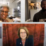screenshot of virtual conversation with two interpreters, Bakari Sellers, Nell Irvin Painter and Ruth Watkins