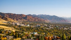 aerial view of Wasatch Front