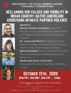 """flyer for event titled, """"Reclaiming our Values and visibility in Indian Country: Native Americans Addressing Intimate Partner Violence"""""""