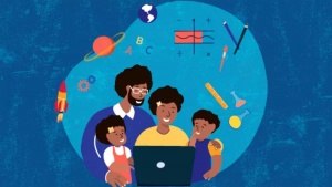 graphic with family of four all looking at a laptop computer. school supplies such as pencils, globe, and a planet float above the family.
