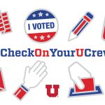 """graphic reads """"checkonyourucrew"""" and features """"i voted"""" sticker, ballot dropbox, U.S flag, envelope, pencil."""