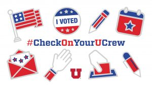 "graphic reads ""checkonyourucrew"" and features ""i voted"" sticker, ballot dropbox, U.S flag, envelope, pencil."