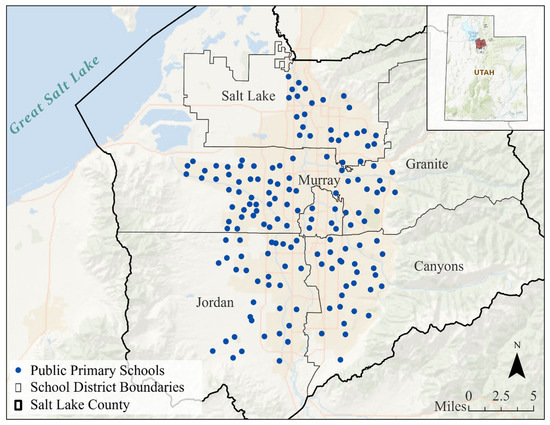 A map of Salt Lake County with all of the primary schools included in the study marked as a blue dot. The schools are scattered down the center of the county.