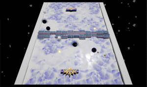 The screenshot of the video game appears to be in outer space - the background is black with gray specs that might be stars scattered. A white rectangle takes up the majority of the frame in the middle—it's coated in a texture that looks like breaking ice, with lavender duding. Across the middle are stacks of blue 3-dimensional rectangles. On the ends are golden symbols that look like a hand fan. There are black holes going diagonally across the middle, as if the white rectangle has dimension holes in it.