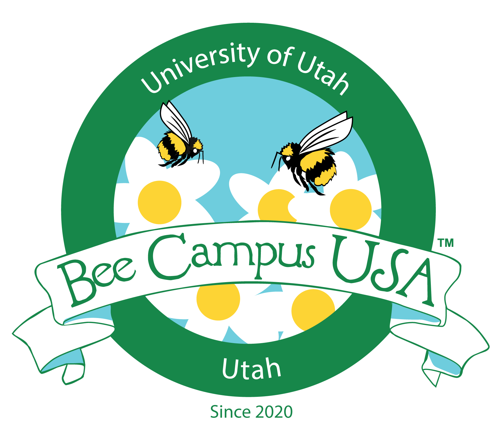 A graphic that has bumble bees on daisies that has Bee Campus USA.