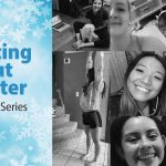 """A grid of people from a ZOOM class from a previous virtual event. A graphic to the left of the frame says """"waiting out winter"""" on a light blue background with snowflakes falling."""