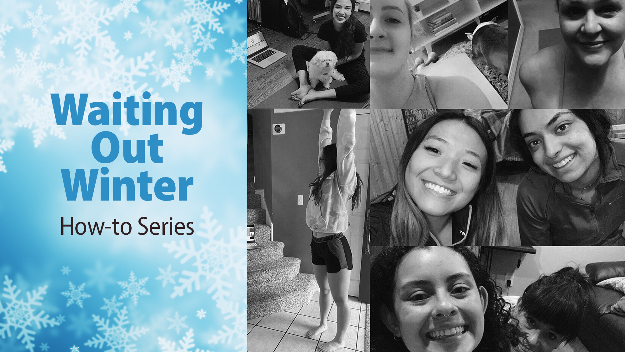 "A grid of people from a ZOOM class from a previous virtual event. A graphic to the left of the frame says ""waiting out winter"" on a light blue background with snowflakes falling."
