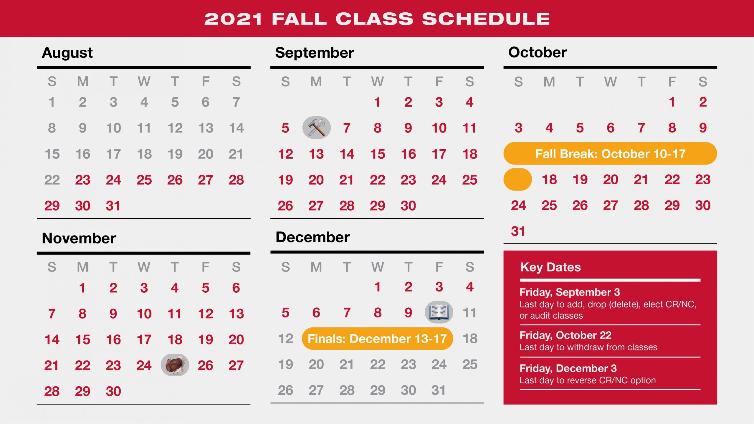 University of Utah Fall 2021 Schedule