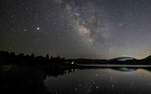 the Milky Way over a lake in Rockport State Park.