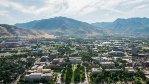 aerial view of University of Utah campus