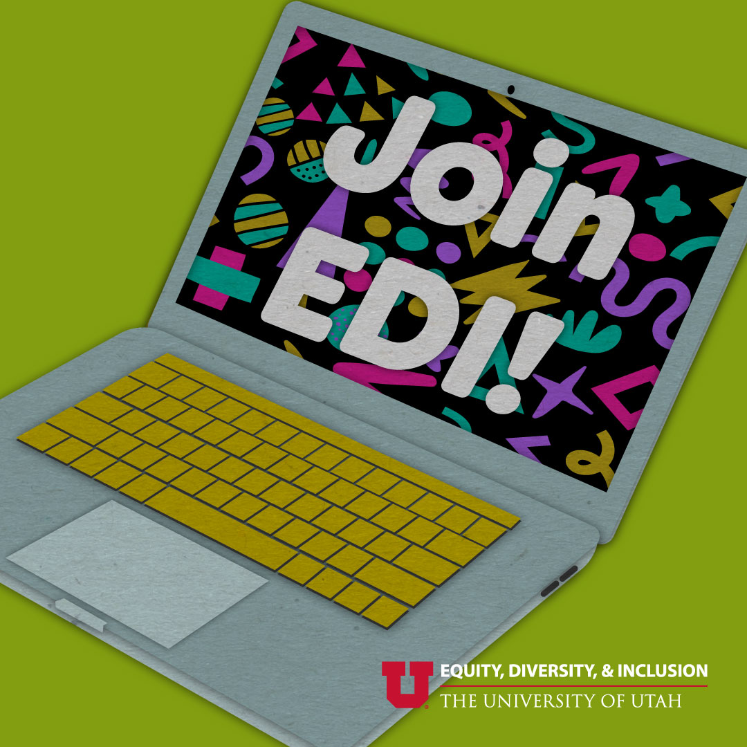 """graphic of an open laptop. The screen reads, """"Join EDI!"""""""