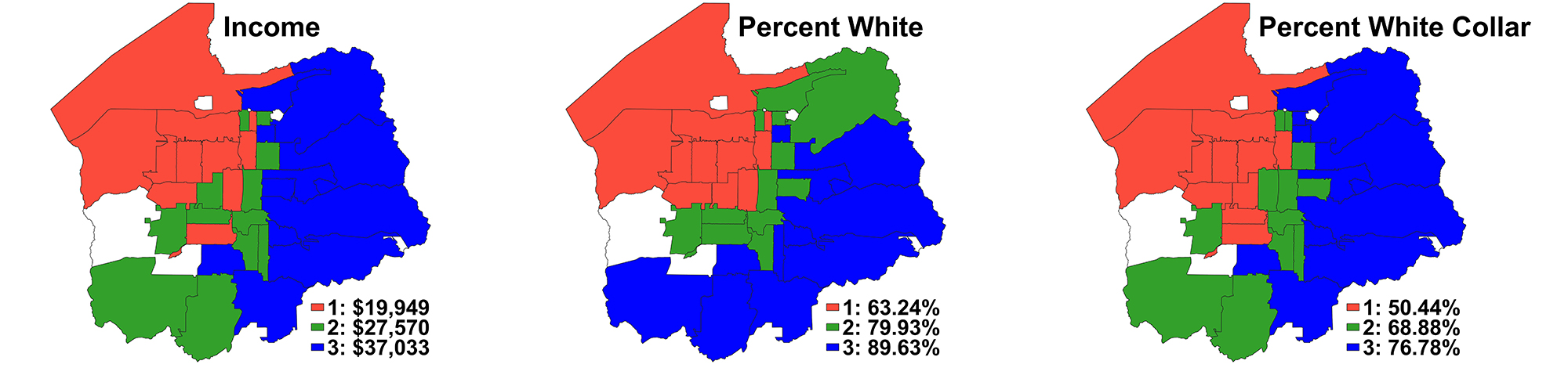 Three maps showing the racial, income, and occupational distribution of Salt Lake County, Utah. The northwest quadrant is the lowest income, the least white, and the least white collar. Conversely, the southeast quadrant is the highest income, most white and most white collar. The northwest quadrant is affluent and white collar, but more racially diverse. The southwest quadrant is the opposite: median income, median amounts of white collar workers and least diverse.